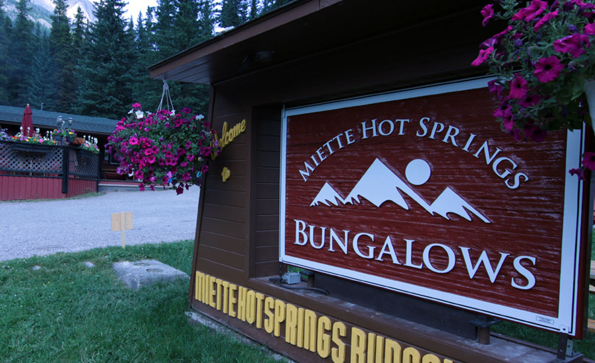 Miette Hot Springs Bungalows sign